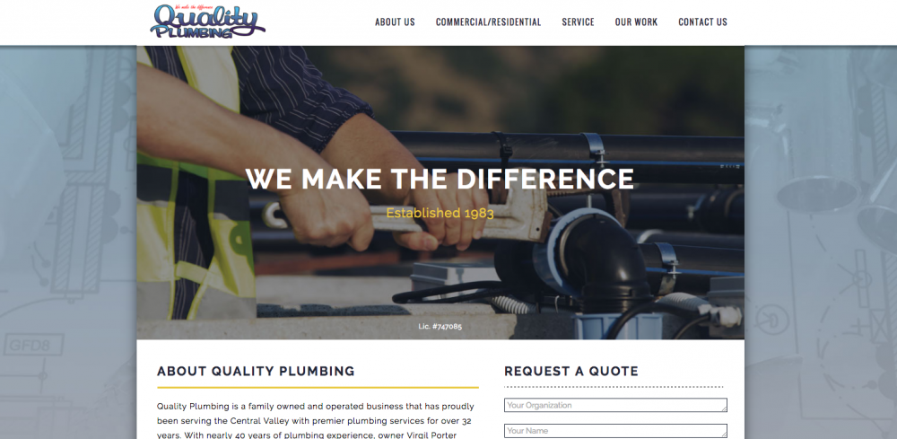 Quality Plumbing - Web Design, Website Build