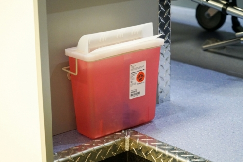 Disposable Sharps Container in Patient Compartment