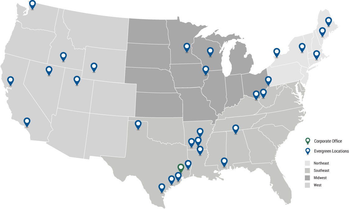 Evergreen Locations Map