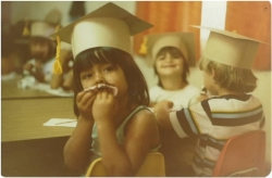 1978- Preschool students Graduation Party - Young Indian Program. Rebecca Valverde in background with teacher aide.