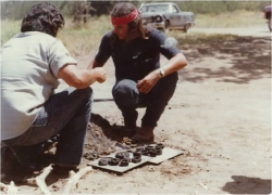 Willie Pink (Pala) with John Videnti (San Pasqual) in 1978 uncovering pottery at the Young Indian Cultural Program.