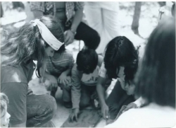 Young Indians Program (1978) Students are making pottery with Cultural Instructor Willie Pink - Pala.
