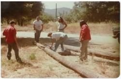 1978 CIMC Youth workers cutting post for a retaining wall at the Tribal Hall. (Left to right) John Parada, Benny Chavez, Eddie Martinez with Ray Belardes Jr. and Steve Cassiode in the back.